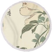 Vintage Asian Blossoms-b Round Beach Towel