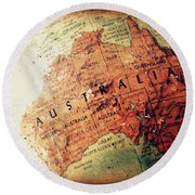 Vintage Australia Round Beach Towel by Faith Williams