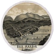 Vintage Bar Harbor Map Round Beach Towel