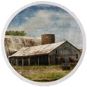 Barn -vintage Barn With Brick Silo - Luther Fine Art Round Beach Towel