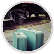 Vintage Blue Suitcases With Red Caboose Round Beach Towel