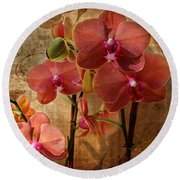 Vintage Burnt Orange Orchids Round Beach Towel by Judy Palkimas