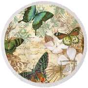 Vintage Butterfly Kisses  Round Beach Towel by Jean Plout
