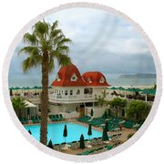 Vintage Cabana At The Del Round Beach Towel by Connie Fox