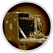 Vintage Camera Sepia Wall Art Round Beach Towel