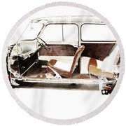 Vintage Car  Round Beach Towel by Gina Dsgn