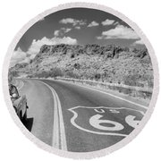 Round Beach Towel featuring the photograph Vintage Car Moving On The Road, Route by Panoramic Images