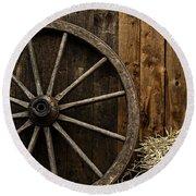 Vintage Carriage Wheel Round Beach Towel