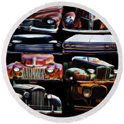 Vintage Cars Collage 2 Round Beach Towel by Cathy Anderson