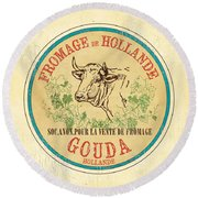 Vintage Cheese Label 1 Round Beach Towel