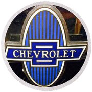 Round Beach Towel featuring the photograph Vintage Chevrolet Logo by Joan Reese