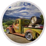 Vintage Chevy Truck At Oliver Twist Winery Round Beach Towel