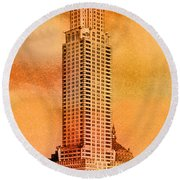 Vintage Chrysler Building Round Beach Towel