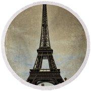 Vintage Eiffel Bronze Round Beach Towel