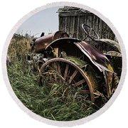Vintage Farm Tractor Color Round Beach Towel