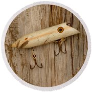 Vintage Fishing Lure Round Beach Towel