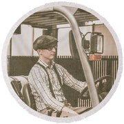 Vintage Forklift Driver Round Beach Towel