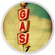 Vintage Gas Sign Round Beach Towel