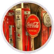 Vintage Gasoline Pumps With Coca Cola Sign Round Beach Towel