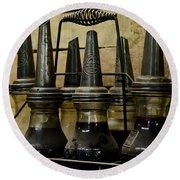 Vintage Glass  Motor Oil Bottles Round Beach Towel by Wilma  Birdwell
