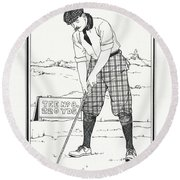 Round Beach Towel featuring the drawing Vintage Golfer 1900 by Ira Shander
