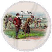 Round Beach Towel featuring the digital art Vintage Golfers by Maciek Froncisz