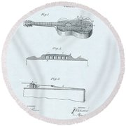 Guitar Patent Drawing On Blue Background Round Beach Towel