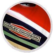 Vintage Harley Davidson Gas Tank Round Beach Towel