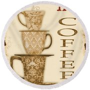 Vintage Hot Coffee Sign Round Beach Towel by Jean Plout