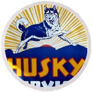 Vintage Husky Sign Round Beach Towel