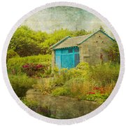 Vintage Inspired Garden Shed With Blue Door Round Beach Towel by Brooke T Ryan