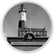 Vintage Looking Montauk Lighthouse Round Beach Towel by John Telfer
