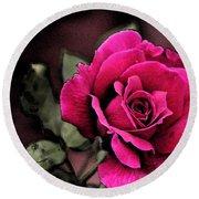 Vintage Love Rose Round Beach Towel by Kay Novy