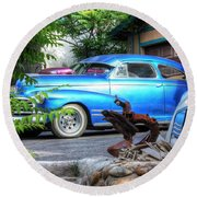 Round Beach Towel featuring the photograph Vintage Lowrider by Lanita Williams
