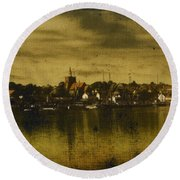 Round Beach Towel featuring the digital art Vintage Maldon  by Fine Art By Andrew David