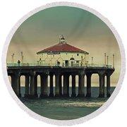 Vintage Manhattan Beach Pier Round Beach Towel