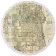 Vintage Map Of Chicago - 1857 Round Beach Towel