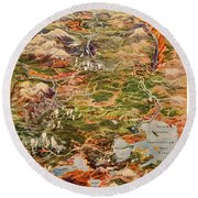 Vintage Map Of Yellowstone National Park Round Beach Towel