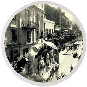 Round Beach Towel featuring the photograph New Orleans Vintage Mardi Gras In The French Quarter Of  Louisiana  1960 by Michael Hoard