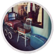 Vintage Memories Round Beach Towel