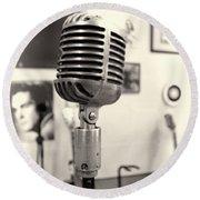 Vintage Microphone Sun Studio Round Beach Towel by Dan Sproul