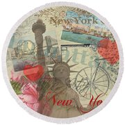 Vintage New York City Collage Round Beach Towel