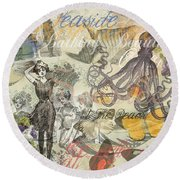 Vintage Octopus And Bathing Beauties Round Beach Towel