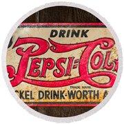 Vintage Pepsi Cola Ad Round Beach Towel