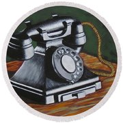Vintage Phone 2 Round Beach Towel