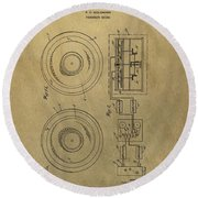 Vintage Phonograph Patent Illustrattion Round Beach Towel