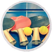 Vintage Ping-pong Bats Table Tennis Paddles Rackets Round Beach Towel