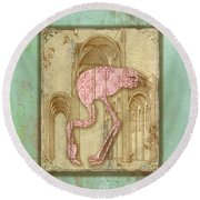 Vintage Pink Flamingo-1 Round Beach Towel