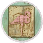 Vintage Pink Flamingo-2 Round Beach Towel