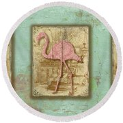 Vintage Pink Flamingo Trio-b Round Beach Towel